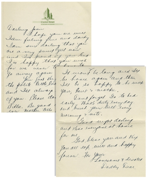 Moe Howard Autograph Letter Signed ''Daddy Dear'' to His Daughter Joan From the Late 1930s -- 2pp. Letter on Bifolium Cleveland Hotel Stationery Measures 5.25'' x 6.5'' -- Very Good Plus