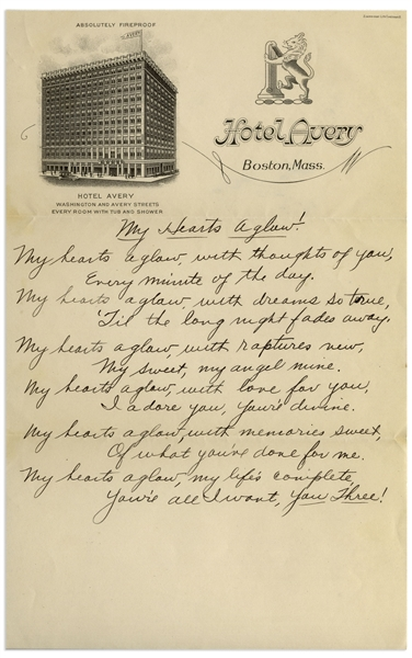 Moe Howard Handwritten Poem to His Family Entitled ''My Hearts Aglow!'' -- From the 1930s on Boston Hotel Stationery -- Single Page Measures 6'' x 9.5'' -- Near Fine