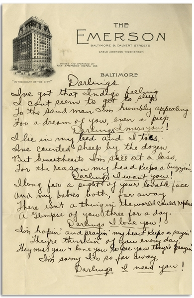 Moe Howard Handwritten Poem to His Family -- From the 1930s on Baltimore Hotel Stationery -- With Math Calculations on Verso -- Single Page Measures 5.5'' x 8.5'', Near Fine