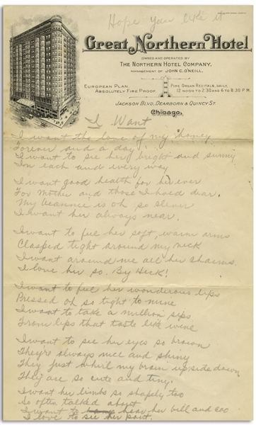 Moe Howard Handwritten Love Poem to His Wife Helen Entitled ''I Want'' & Signed ''Mosey'' -- From the 1930s on Chicago Hotel Stationery -- 2pp. on Two 6'' x 9.5'' Sheets, Very Good