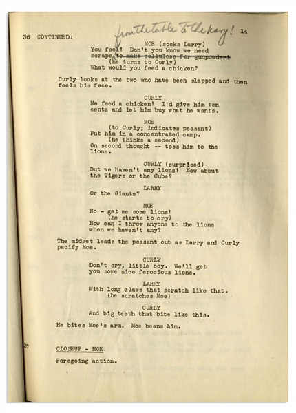 Moe Howard's 32pp. Script Dated October 1939 for The Three Stooges 1940 Film ''You Nazty Spy!'' -- With Numerous Annotations in Moe's Hand Throughout -- Very Good Condition