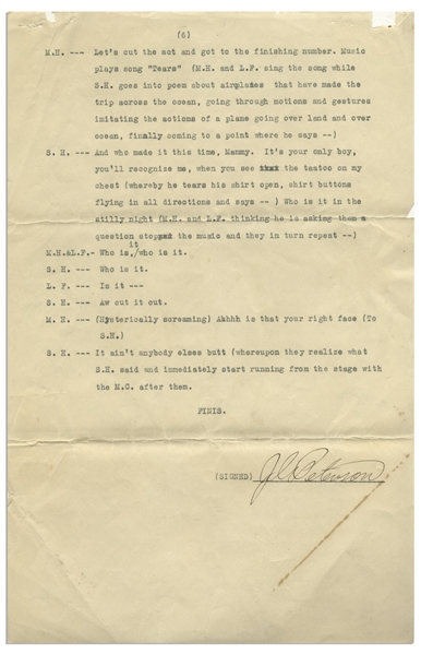 Interesting Notarized Statement From 1931, Confirming Notary Witnessed Howard, Fine & Howard Perform Skit at the Paramount Theatre in LA -- 6pp. Script for Skit Included -- 8.5'' x 13'', Very Good