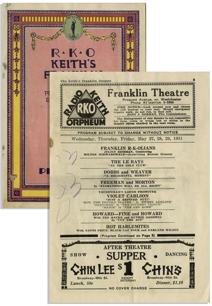 1931 RKO Program Advertising ''Howard--Fine and Howard'' -- 10pp. Color Program From Brooklyn's Keith's Franklin Theater Measures 5.25'' x 7.75'' -- Mild Soiling & Some Writing by a Child, Very Good