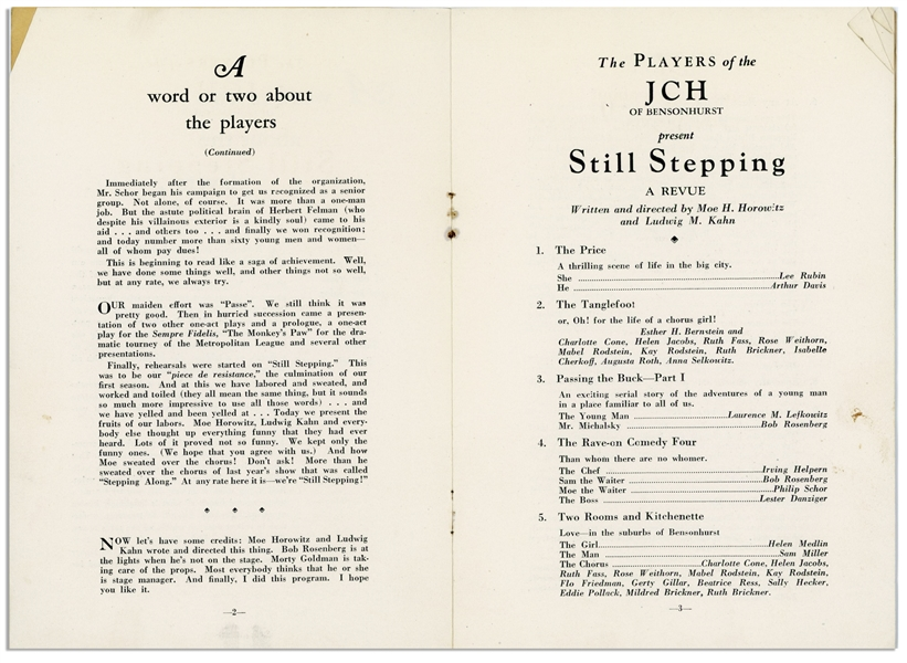 June 16th and 17th, 1928 Theater Program for ''Still Stepping'', Revue Written & Directed by Moe Horowitz -- 8pp. Program Measures 5.5'' x 8'' -- Very Good Condition