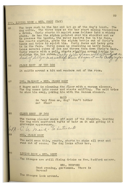 Moe Howard's 31pp. Script Dated November 1938 for The 1939 Three Stooges Film ''Calling All Curs'' -- Numerous Annotations in Moe's Hand Throughout -- Very Good Condition