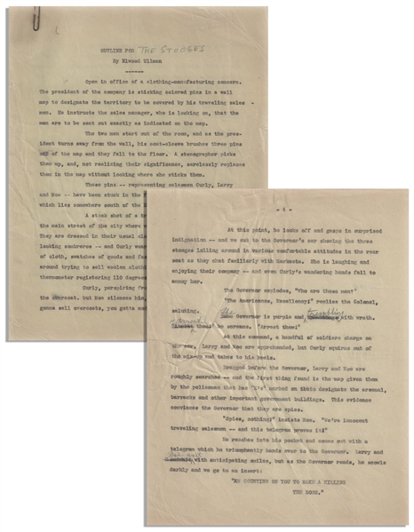 Moe Howard's 18pp. Outline Dated October 1938 for The Three Stooges Film ''Saved by the Belle'' -- With Numerous Annotations in Moe's Hand Throughout -- Very Good Condition