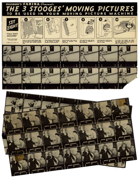 ''The 3 Stooges Moving Picture Machine'' Made by Pillsbury Farina -- Unassembled Cardboard Slide Projector Includes All 56 Slides From ''Movie Maniacs'' -- A Few Slides Damaged, Else Very Good