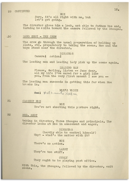 Moe Howard's 29pp. ''Final'' Script Dated October 1935 for The Three Stooges Film ''Movie Maniacs'' -- With Annotations in Moe's Hand & 15pp. of ''Additional Scenes'' -- Very Good Condition