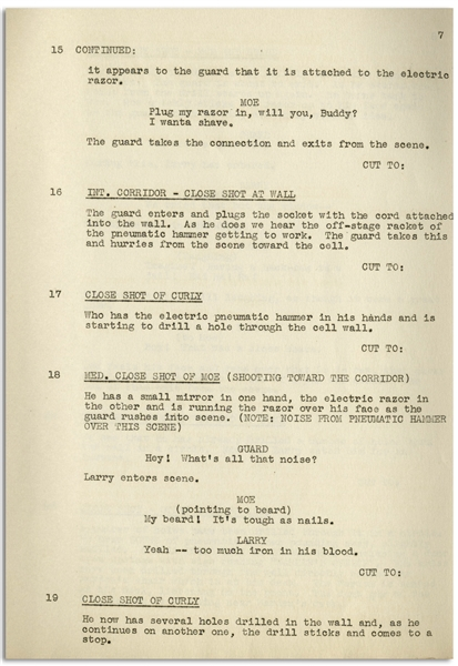 Moe Howard's 33pp. Script Dated January 1937 for The Three Stooges Film ''3 Dumb Clucks'' -- Very Good Plus Condition