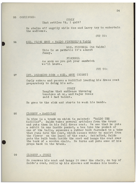 Moe Howard's 33pp. Script Dated July 1941 for The 1942 Three Stooges Film ''Loco Boy Makes Good'', With Working Title ''Poor but Dishonest'' -- Archival Repair to Cover, Else Very Good Condition