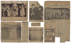 Moe Howards Newspaper Clippings From 1927, Mostly Regarding Community Theater, But Also With Photo of Ted Healy & Moe Mr. Stooge No. 1 -- About 10 Clippings, Glued to Paper -- Good Condition