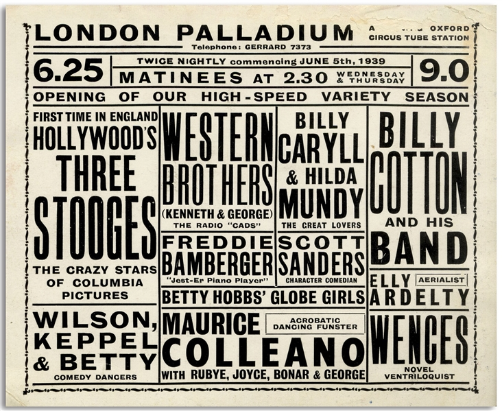 Promotional Card From the London Palladium, Featuring The Three Stooges Show on 5 June 1939 -- Measures 6.5'' x 5.25'' -- Very Good Condition