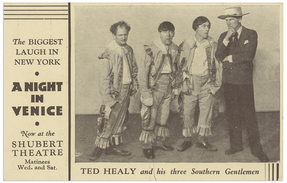 ''A Night in Venice'' Postcard, Circa 1929, Featuring ''Ted Healy and his three Southern Gentlemen'' -- 5.5'' x 3.5'' Postcard Promotes Show at Shubert Theatre -- Abrasion on Verso,  Else Near Fine