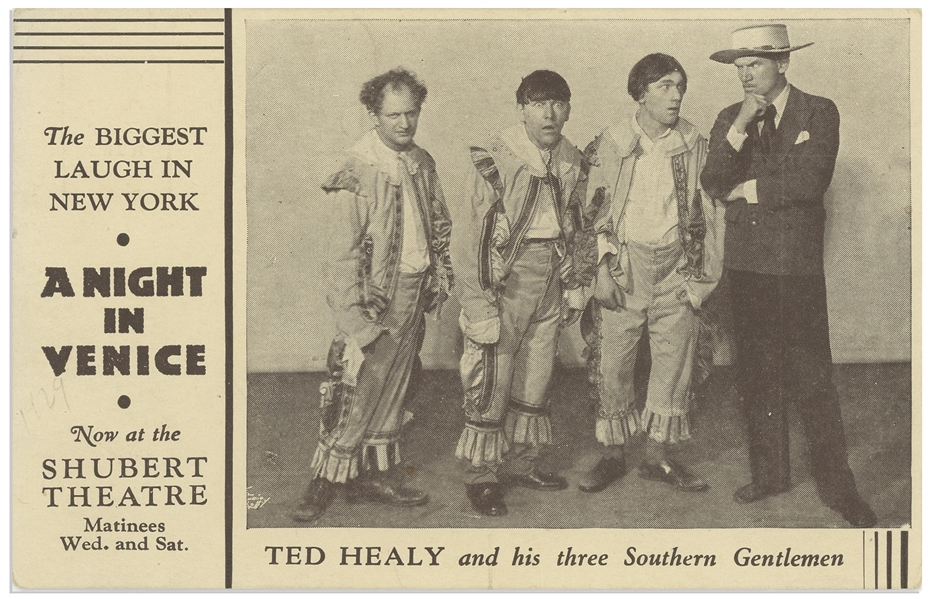 ''A Night in Venice'' Postcard, Circa 1929, Featuring ''Ted Healy and his three Southern Gentlemen'' -- 5.5'' x 3.5'' Postcard Promotes Show at Shubert Theatre -- Sticker on Verso,  Very Good