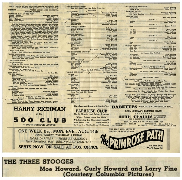 1939 Flyer for ''George White's Scandals'' at the Garden Pier Theatre, Listing The Three Stooges in 2 Places -- Measures 11'' x 9.5'' Unfolded -- Some Notations, Else Very Good Plus