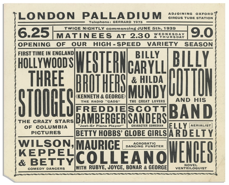 Promotional Card From the London Palladium, Featuring The Three Stooges Show on 5 June 1939 -- Measures 6.5'' x 5.25'' -- Chip at Bottom Corner, Else Near Fine