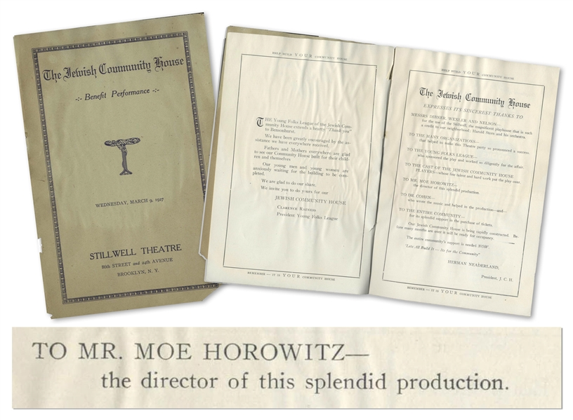 1927 Program for The Jewish Community House, Thanking Moe Horowitz as Director of the Performance -- 12pp. Program Measures 6'' x 9.25'' -- Some Dampstaining & Light Wear, Good Plus Condition