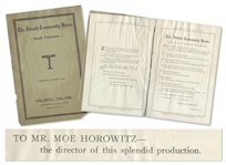 1927 Program for The Jewish Community House, Thanking Moe Horowitz as Director of the Performance -- 12pp. Program Measures 6 x 9.25 -- Some Dampstaining & Light Wear, Good Plus Condition