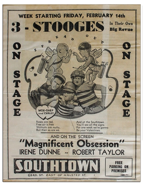 1935 Advert Measuring 8.5 x 11 for a Moe-Shep and Curley (Showing Larry) Three Stooges Show, Glued to 18 x 24 Scrapbook Sheet of Moe's News Clips From 1936 -- Chipping & Toning, Overall Good