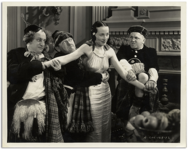 10 x 8 Glossy Photo From the 1935 Three Stooges Film Pardon My Scotch -- Very Good Plus Condition
