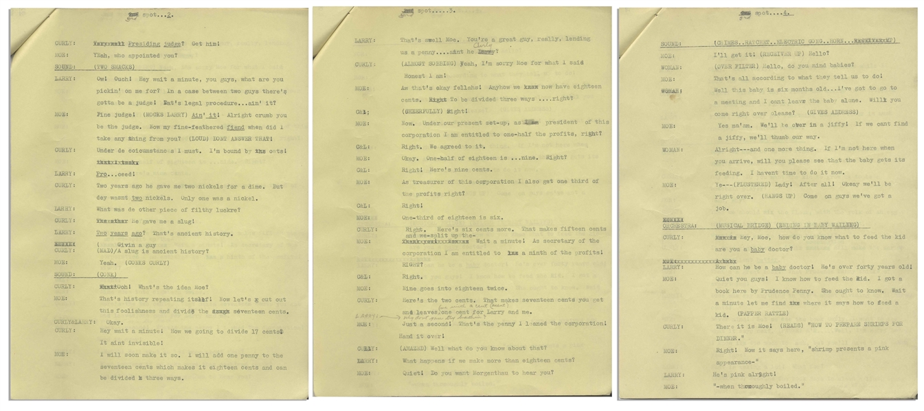 Moe Howard's 17pp. Script Dated June 1942 for Half-Hour Radio Show -- Labeled ''Rough Draft'' at Top & With Moe's Annotations Within -- Very Good Plus Condition