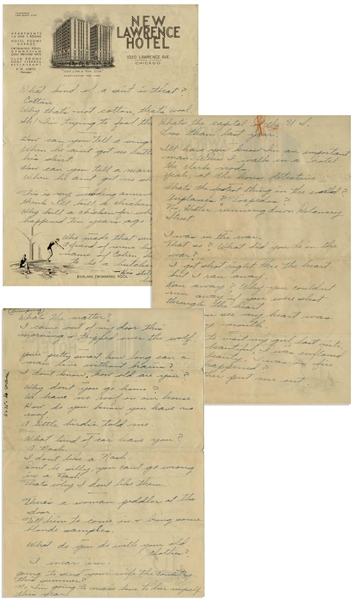 Moe Howard Handwritten Jokes, Circa 1940 With 1 Joke About Hitler -- Four Pages on Two Sheets of Chicago Hotel Stationery Measure 7.25'' x 10.5'' -- Folds & Orange Crayon to 1 Page, Overall Very Good