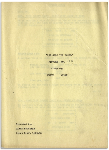 Moe Howard's 29pp. Script Dated January 1935 for The Three Stooges Film ''Pop Goes the Easel'' -- Very Good Condition
