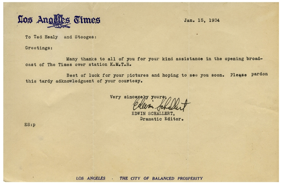 Los Angeles Times Letter to ''Ted Healy and Stooges'' Dated January 1934 -- ''Best of luck for your pictures'' -- Measures 8.5'' x 5.5'' -- Very Good