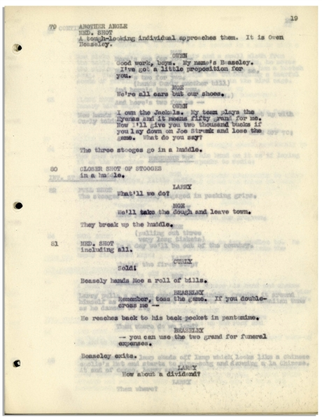 Moe Howard's 30pp. Script From October 1934 for The Three Stooges Film ''Three Little Pigskins'', Revised Pages Ending at Scene 158 -- Unbound on Onion Skin Paper, Very Good Condition