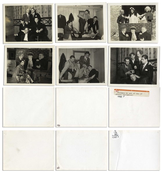 Lot of 10 Photos From the 1930s -- Mostly 5 x 4 Candid & Publicity Shots Including Moe, Larry & Curly in Drag, Stopping Traffic & Goofing Around -- Very Good Condition
