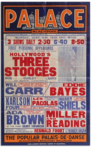 Large 24.75 x 39.75 Poster From June 1939 Advertising The Three Stooges Show at the Blackpool Palace in England -- Curly Misspelled as Curley