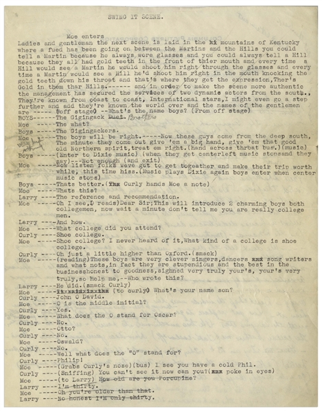 Moe Howard 2pp. Script for the Vaudeville ''Swing It Scene'' With Curly, Circa 1937 -- Plus Moe's Handwritten Page of Same Scene on Verso, Signed -- 8.5'' x 11'', Very Good