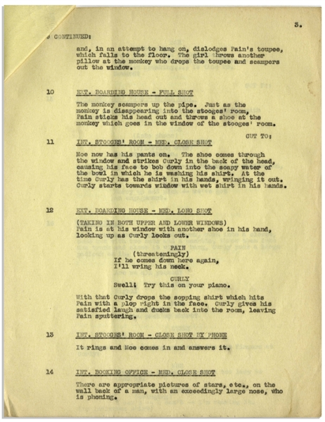 Moe Howard's 22pp. Partial Script Dated April 1936 for The Three Stooges Film ''A Pain in the Pullman'' -- With Annotations in Moe's Hand -- Likely Script Changes as Unbound -- Very Good Condition