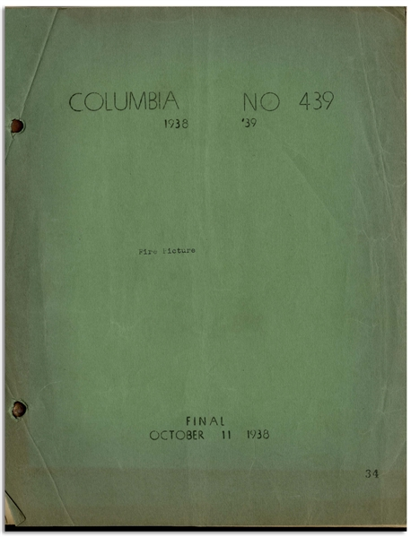 Moe Howard's 27pp. Script Dated October 1938 for The Three Stooges Film ''Flat Foot Stooges'' or ''Fire Picture'' -- Very Good Condition
