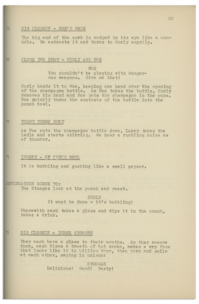 Moe Howard's 34pp. Script Dated January 1939 for The Three Stooges Film ''Three Sappy People'', With Working Title ''Three Sloppy People'' -- Paper Loss to Back Cover, Else Very Good Plus Condition