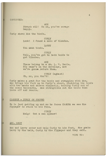 Moe Howard's 26pp. Script Dated July 1940 for The 1941 Three Stooges Film ''So Long Mr. Chumps'' -- Very Good Condition
