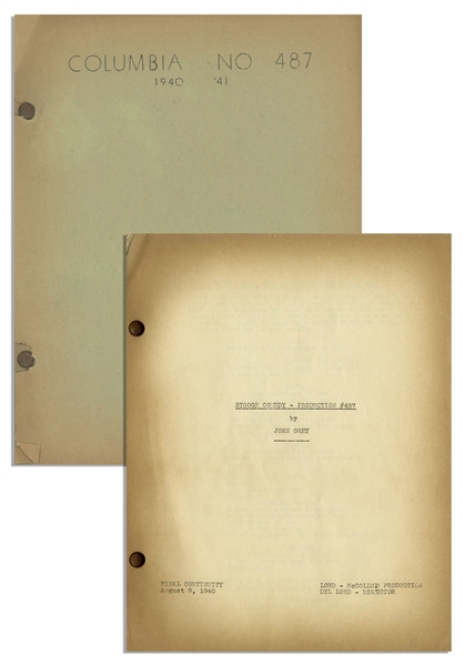 Moe Howard's 29pp. Script Dated August 1940 for The 1941 Three Stooges Film ''All the World's a Stooge'' -- Very Good Condition