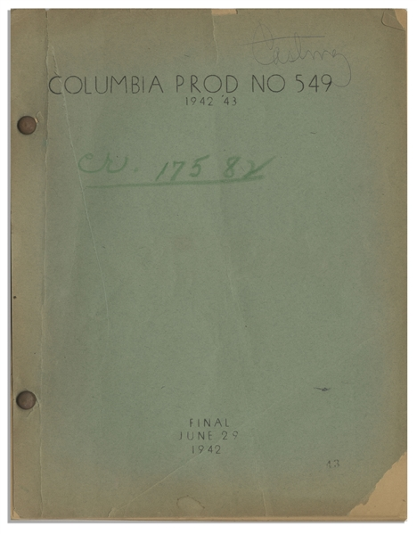 Moe Howard's 36pp. Script Dated June 1942 for The 1943 Three Stooges Film ''Spook Louder'' -- Original Writing on Cover -- Chipping to Covers & Archival Repair, Else Very Good Condition