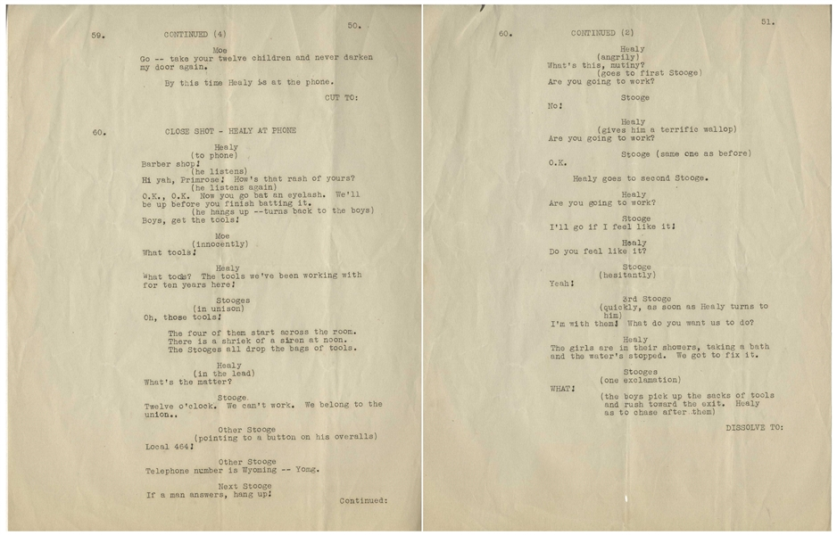Moe Howard's 6pp. Partial Script From Meet the Baron With Ted Healy -- Dated 14 August 1933, Titled as Jack Pearl Story -- Pages Are Portion of Movie Featuring Healy & Stooges -- Very Good