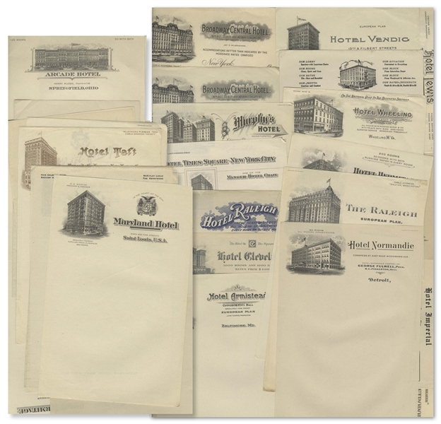 Moe Howard's Lot of Unused Hotel Stationery From Various Cities, Circa 1930s -- Comprising 35pp. -- Very Good to Near Fine