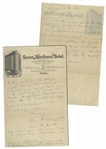 Moe Howard Handwritten Poem & Partial Letter Twice-Signed Mosey to Helen, Circa 1924 -- 2pp. on 6 x 9.5 Sheet of Chicago Hotel Stationery -- Very Good