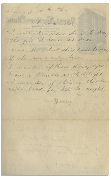Moe Howard Handwritten Poem & Partial Letter Twice-Signed ''Mosey'' to Helen, Circa 1924 -- 2pp. on 6'' x 9.5'' Sheet of Chicago Hotel Stationery -- Very Good