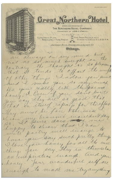 Moe Howard Handwritten Partial Letter Signed ''Mosey'' to Helen, Circa 1924 -- 2pp. on 6'' x 9.5'' Sheet of Chicago Hotel Stationery -- Very Good