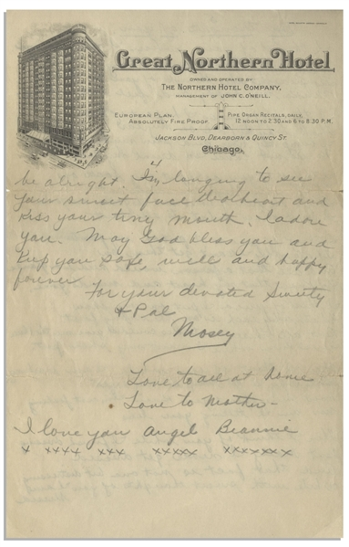 Moe Howard Handwritten Poem Signed ''Mosey'' to Helen, Circa 1924 on 4pp. of Chicago Hotel Stationery -- Also Includes Partial Letter -- 2 Sheets Measure 6'' x 9.5'' -- Very Good