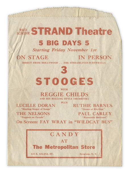 Unique Three Stooges' Promotional Items From 1940, Advertising Their Performance at the Strand Theatre -- Paper Bag Measuring 6'' x 8'' & Napkin Measuring 7'' x 6.75'' -- Very Good