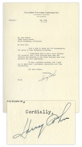 Columbia Pictures President Harry Cohn Letter Signed to Moe Howard, Dated May 1942, Thanking Moe for Visiting the Naval Hospital During WWII -- 7.25'' x 10.5'', Near Fine Condition