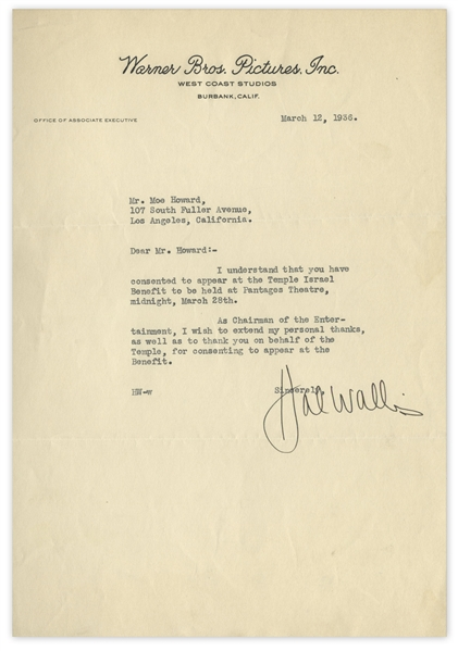 Famed Hollywood Producer, Hal Wallis Letter Signed to Moe Howard -- Dated March 1936 On Warner Bros. Stationery, Wallis Thanks Moe for Attending Charity Benefit -- 7.25'' x 10.5'', Near Fine