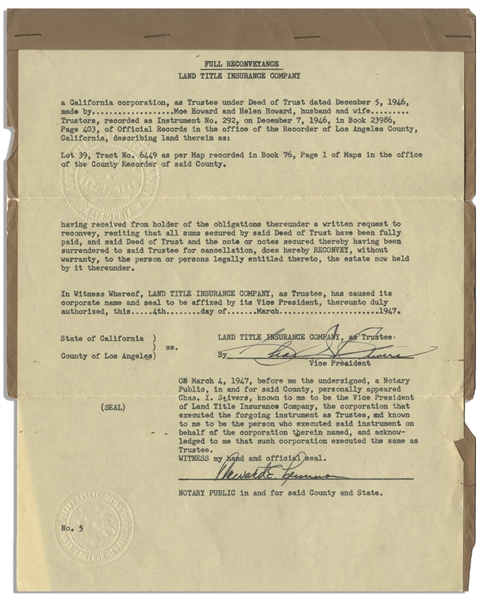 Moe Howard's Deed (as Moe Horwitz) for the Property of His Home, Unsigned, & Two Title Insurance Document for Same -- Dated July 1942 & March 1947 Measuring 8.5'' x 11'' -- Very Good Plus Condition