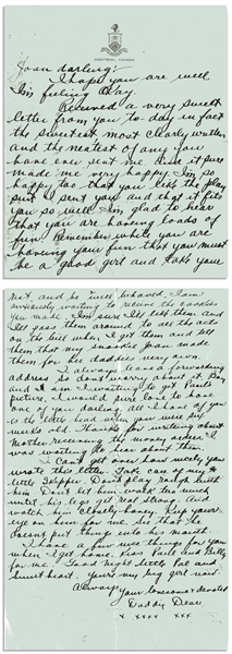 Moe Howard Autograph Letter Signed ''Daddy Dear'' to His Daughter -- From the 1930s on Montreal Hotel Stationery -- 3pp. Letter on Bifolium Measures 5.25'' x 6.5'' -- Near Fine