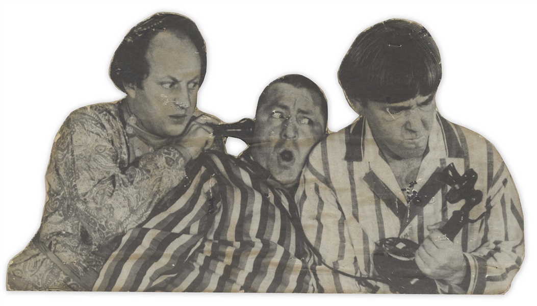 Images of Moe, Curly & The Three Stooges Glued on Wood, -- Curly & Moe (Circa 1930) Measure About 6'' x 9'', Stooges Measure 10.5'' x 5.75'' -- Wood on Moe Photo Buckling, Else Good